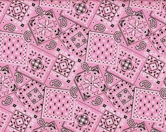 Gorgeous Light Pink bandana  Cowgirls favorite  cotton fabric  BTY