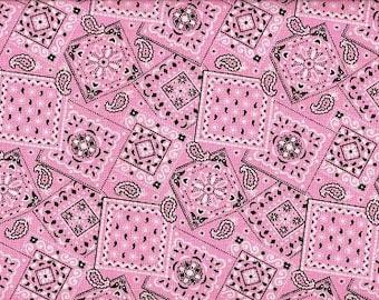 Gorgeous Light Pink bandana  Cowgirls favorite  cotton fabric  BTY