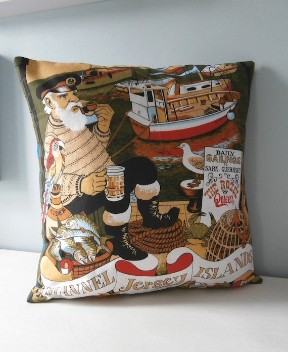 Channel Islands Sailor Cushion / Pillow cover Upcycled Teatowel