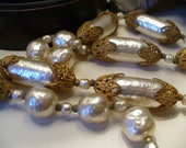 RESERVED Miriam Haskell Signed Baroque Pearl and Gold Filigree Necklace