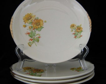 4 Paden City Pottery Salad Plates - Yellow Daisies with Red Flowers & Gold Trim - PCP193