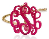"Monogram Necklace 1.6"" Acrylic -Any color Custom Made with 18k Gold Plated chain"