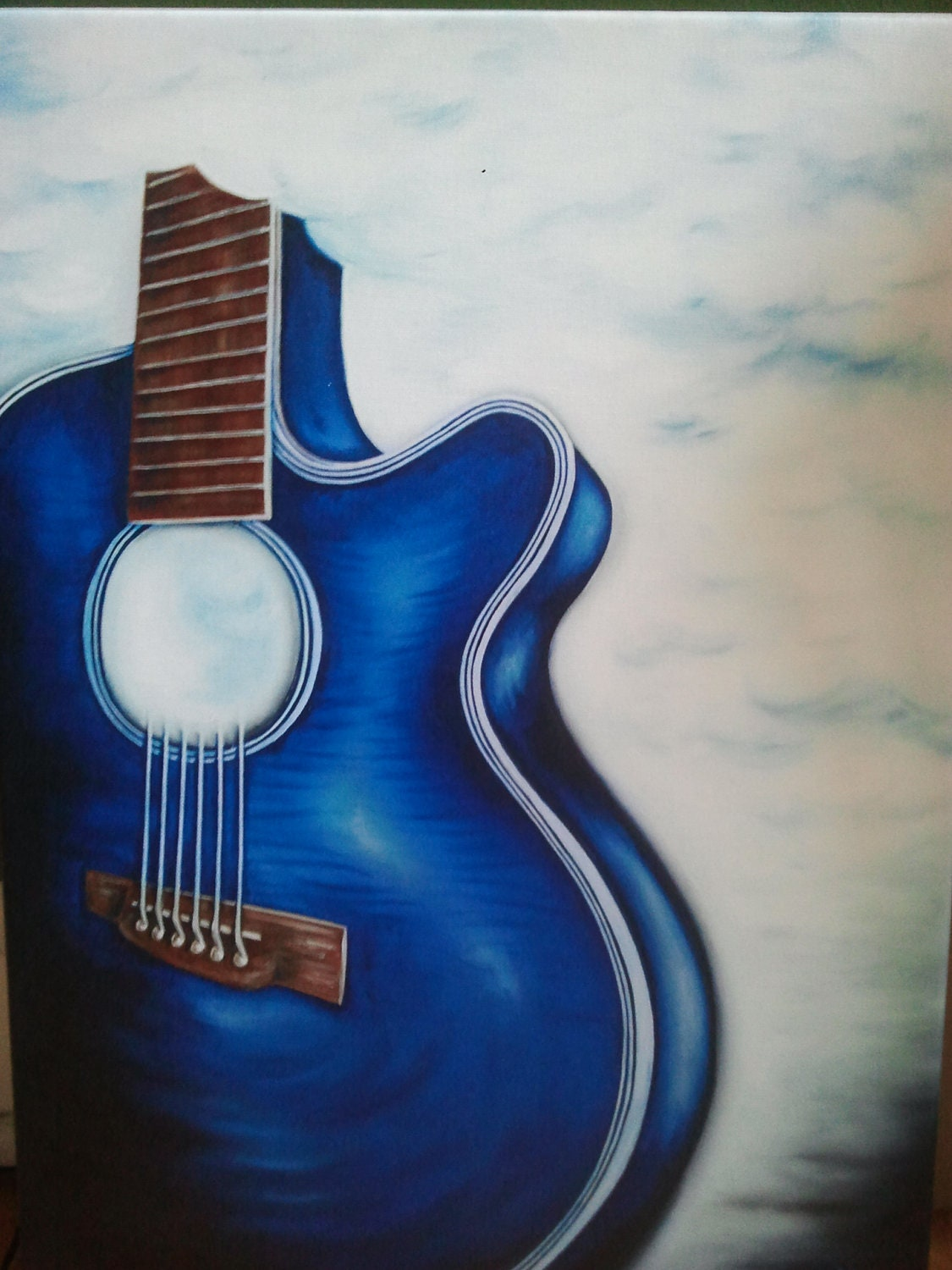 Painting Endless Music Blue guitar floating