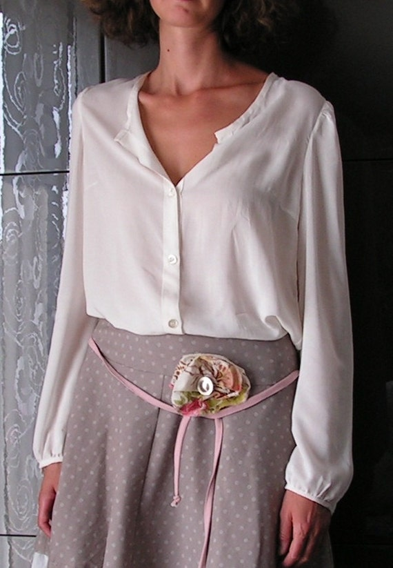 Women natural-coloured long sleeved Blouse