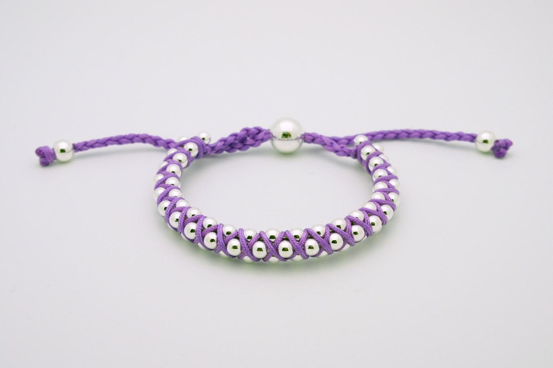 Link Friendship Bracelets Purple Silver beads by ... How To Make Friendship Bracelets With Beads