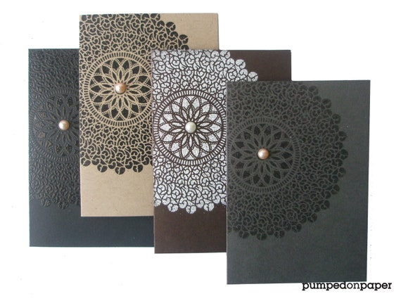 neutral note cards - lace starburst embossed  - assorted color collection - set of 4