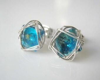 Stud Earrings, Turquoise Stud Earrings Art Glass Post Earrings,Turquoise Silver Wire Wrapped Earrings Gifts For Her