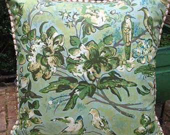 """Vintage """"Tamerlane"""" Print Pillow With Birds and Flowers"""