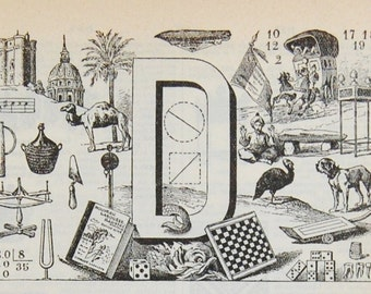 Antique French Dictionary Page - Initial - The Letter D - Alphabet - Original Engraved Lithograph 1937 - Printed in Paris