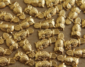 12 pc. Tiny Raw Brass Owls: 9mm by 4mm - made in USA   RB-027