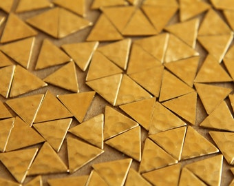 20 pc. Small Raw Brass Hammered Triangles: 8mm by 8mm - made in USA | RB-007