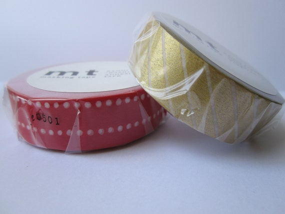 Washi tape 2P MT Kamoi Japanese for Decoration & Crafts  - Red/Gold Christmas