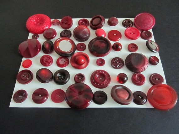48 Vintage Shabby Chic Unique Different Shades of Burgundy Plastic Sewing Buttons