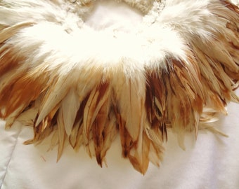 "Natural Cream and Brown Rooster Schlappen ""Smores"" Feathers Bulk Wholesale Hair Supply"