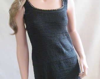 Crochet Black Dress with beads
