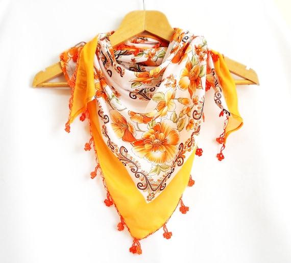 Floral scarf, Triangle fabric scarf, Embellished with crochet flower, Orange, Tassels scarf, Authentic, Elegant, Cotton fabric shawl