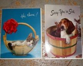 Vintage Cards, Thinking Of You,  Get Well, Dog, Cat, Hallmark, Unused, Two Cards
