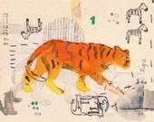 Fine Print  Tiger, orange black