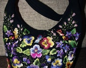 """Embroidered wool bag """"Forget-me-not"""" black"""