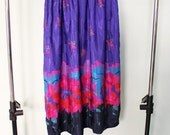Vintage Floral Midi Length Full Skirt Size Small