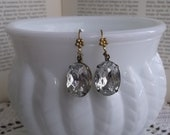 Sale~ French Queen's Oval Crystal Earrings, Romantique' Vintage Crystals, Antique Petite Fluer' Brass