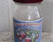 Recycled Vintage Glittered French Strawberry Labeled Jelly Jar, French Blue Strawberry, Velvet  Burgundy Ribbon, Old Floral Linen Lid