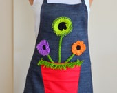kitchen apron,denim 100 % cotton long pleated skirt kitchen apron appliqued flowers in vase gifts valentines day gifts