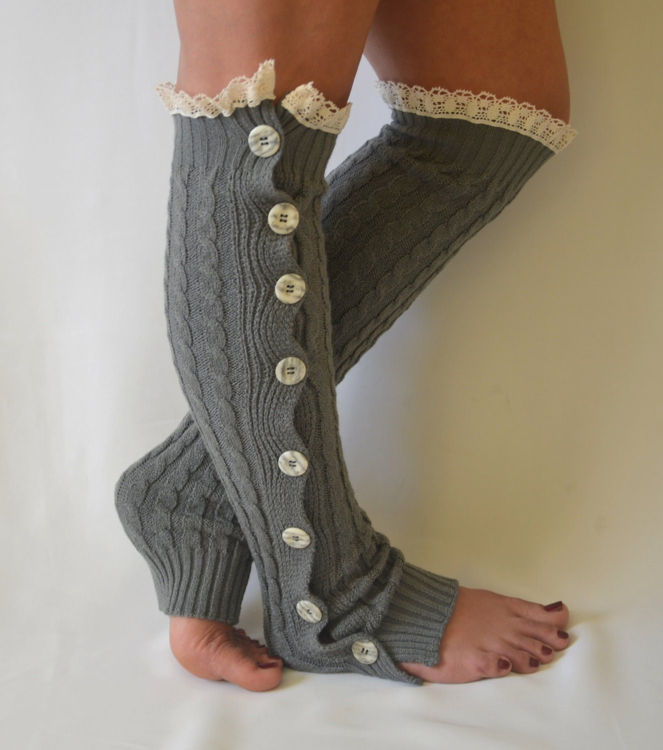 Knitting Pattern For Leg Warmers With Buttons : Gray cable knit slouchy open button down lace leg by bstyle