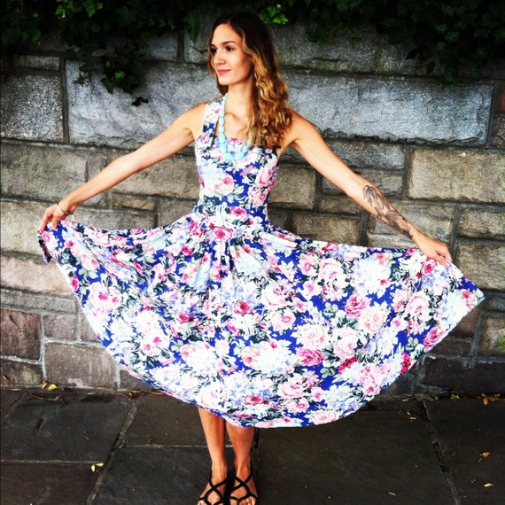 Vintage Dress with Blue Floral Print and Criss Cross Back, Medium