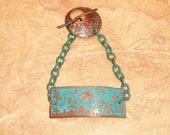 Starry Starry Night Aqua Teal Patina Band and Chain Toggle Bracelet