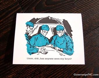 Bad Doctors, Funny Letterpress Greeting Card.
