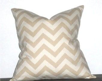 "18"" Decorative Pillows Khaki and Natural Chevron- 18 x 18 inch square"