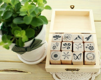 Nature Pattern Stamps Set - Wooden Rubber Stamps - Stamps - 12pcs