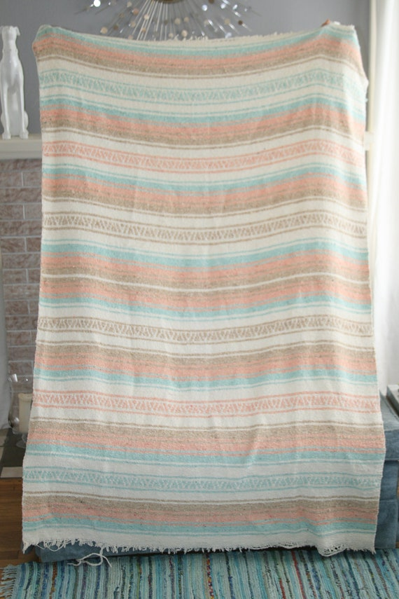 Vintage Retro Southwestern Native American Mexican Cotton Camp Blanket Mint Tan Peach and Cream 1980s