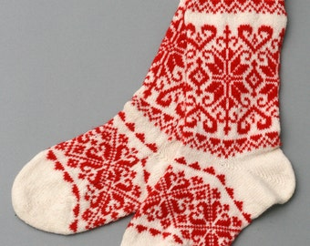 socks red women wool folklore eco friendly white sock foot christmas