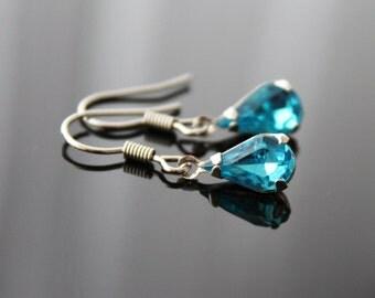Sky blue silver earrings, small raindrop earrings, simple everyday jewelry
