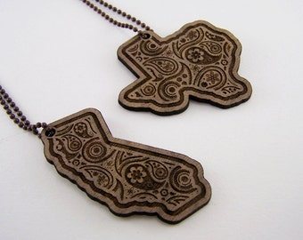 State Necklace - Laser Cut Paisley Pendant Wooden Jewelry