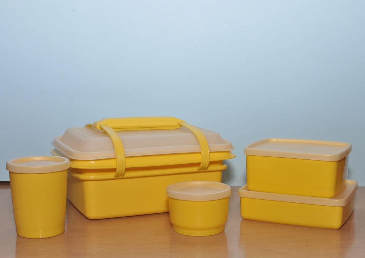 vintage tupperware lunch box and accessories never used in a. Black Bedroom Furniture Sets. Home Design Ideas