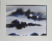 Original landscape painting in ink of a cloudy sky on watercolor paper