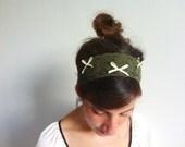 Lace Headband - Green Lace Bridal Wedding Headband with Bows - Fabric Headband