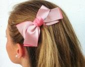 St Valentine's Bow Haircomb - Women Haircomb - Pink Bow - Satin Haircomb -Bridesmaid Hair Accessories