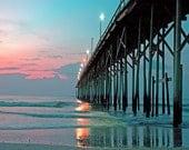 Landscape Photography, Home Decor, Carolina Beach, Fishing Pier, Sunset Photos, Wall Art, Ocean 8x10