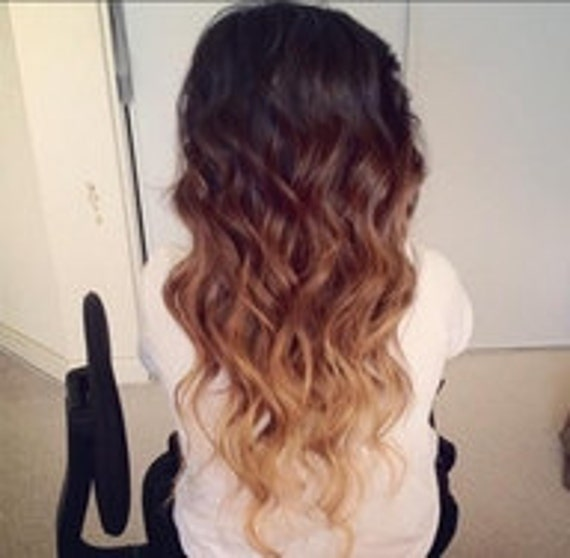 20 Inches Long F U L L Set// T W OI tone - Dark Brown to Blonde- Ombre Effect- Clip Ins - Remy Hair