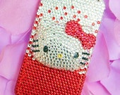 iPhone 4 and iPhone 4S 3D Crystal Red and Silver Diamond Bling Rhinestone case