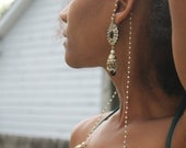 Hand made in India Earring set with long beaded chain that wraps around ear
