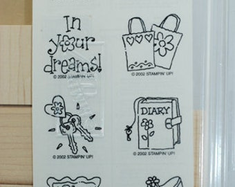 "STAMPIN UP Stamp Set - Rubber Stamps  ""Girlfriend Accessories"" Never Used 2002 Retired Stamping Set for Scrapbooking Cardmaking"