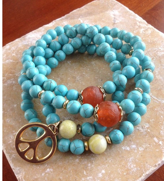 108 Bead Turquoise Buddhist Mala with African Glass, Lemon Jasper and Peace Symbol