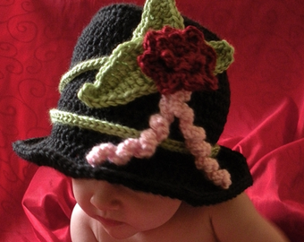 Crochet Top Hat Photo Prop for Boys or Girls - 4 sizes - PATTERN ONLY