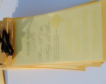 Ultra Modern tiered wedding ceremony programs in gold, white and silver