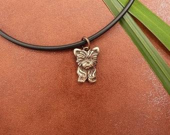 Bronze Yorkie Puppy Necklace